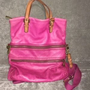 Beautiful Fossil Messenger-Style Bag—Fuschia
